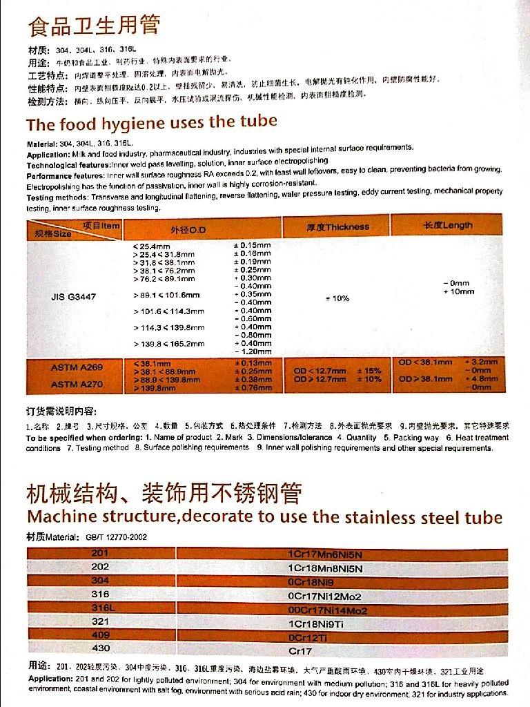 Food hygiene stainless steel tube pipe/ Tubería Higiene de los alimentos 1