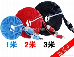 v8 colored noodles data  cable for 3g/4g/5g,smart phone data cable usb cable