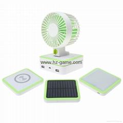 新款多功能10000毫安太陽能移動電源帶風扇LED燈無線手機充電寶