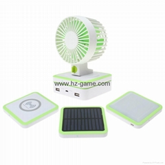 Multifunction Solar WITH Mini USB Fan + Qi Wireless Charger +LED Camping Lamp