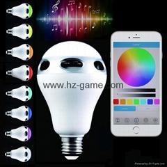 新款LED蓝牙音箱灯泡 创意智能方案手机控七彩音乐球泡音响 厂家