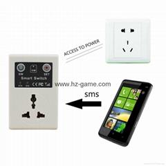 手機遙控開關 GSM無線遙控插座遠程電話控制 控制智能插座歐標