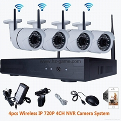 NEW 4CH 720P HD Wireless IP Home IR Security Camera Surveillance WIFI NVR Kit
