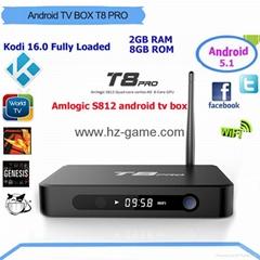 New TV BOX T8 Pro Android5.1 Quad Core  KODI 16.0 2G 8 TVG Amlogic S812