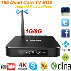 New T95 Android tv box Quad core Amlogic S905 cortex-A9 media player kodi 16.0
