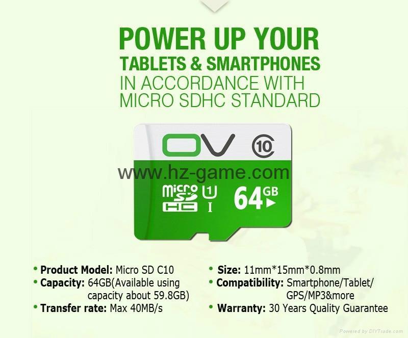 OV Micro SD Card 64GB Class1016GB Memory Card Flash Memory Micro sd 12