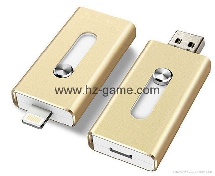 手機電腦雙用U盤8G/16g/32G/64G otg蘋果U盤32g 定製LOGO優盤 雙插頭定製u盤 3