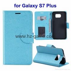 新款上市 适用三星S7 plus十字纹手机壳带相框钱包款手机保护皮套
