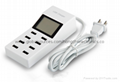 Multi 8 Usb Ports Charger with Lcd Screen Dc Voltmeter Smart Wall Charger