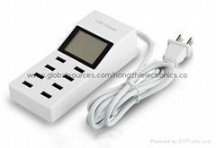 廠家直銷智能USB手機充電器 多功能8口排插充電頭 顯示屏 快充