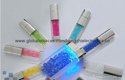 新款發光情侶鑽石透明水晶U盤 8G 16G 32G 64G 批發 8