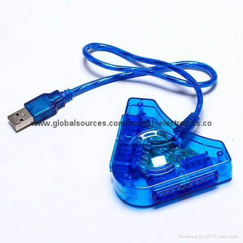 PS2手柄USB轉接口 PS2遊戲手柄轉換器 PS2有線手柄轉PC轉換器電腦 1
