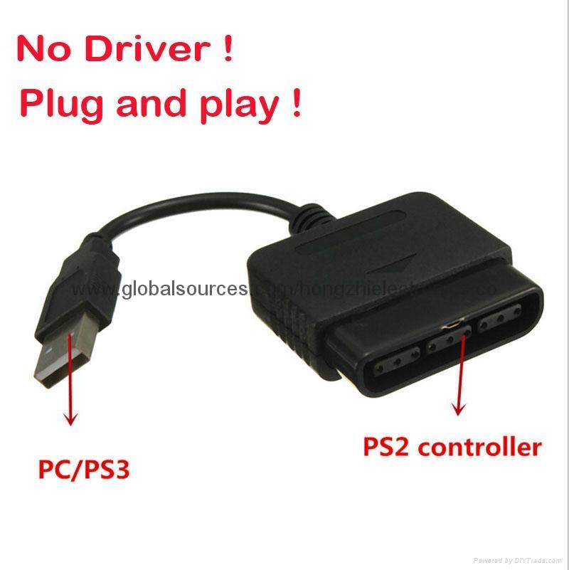 PS2手柄USB轉接口 PS2遊戲手柄轉換器 PS2有線手柄轉PC轉換器電腦 4