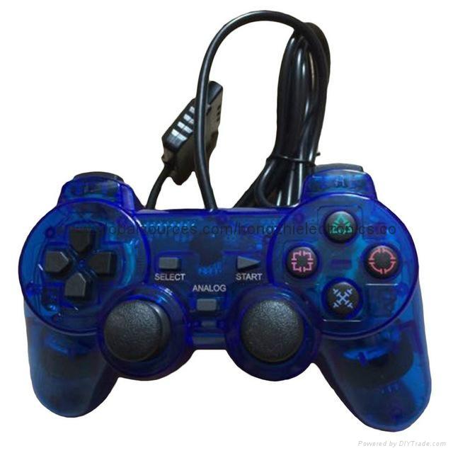 ps2 彩色透明有線手柄 PS2雙振透明彩色手柄 PS2彩色手柄 PS2透明手柄 2