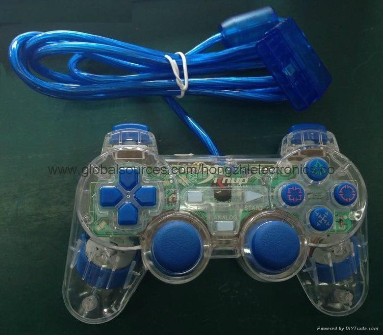 ps2 彩色透明有線手柄 PS2雙振透明彩色手柄 PS2彩色手柄 PS2透明手柄 3