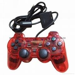 ps2 彩色透明有线手柄 PS2双振透明彩色手柄 PS2彩色手柄 PS2透明手柄