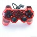 ps2 彩色透明有線手柄 PS2雙振透明彩色手柄 PS2彩色手柄 PS2透明手柄 4