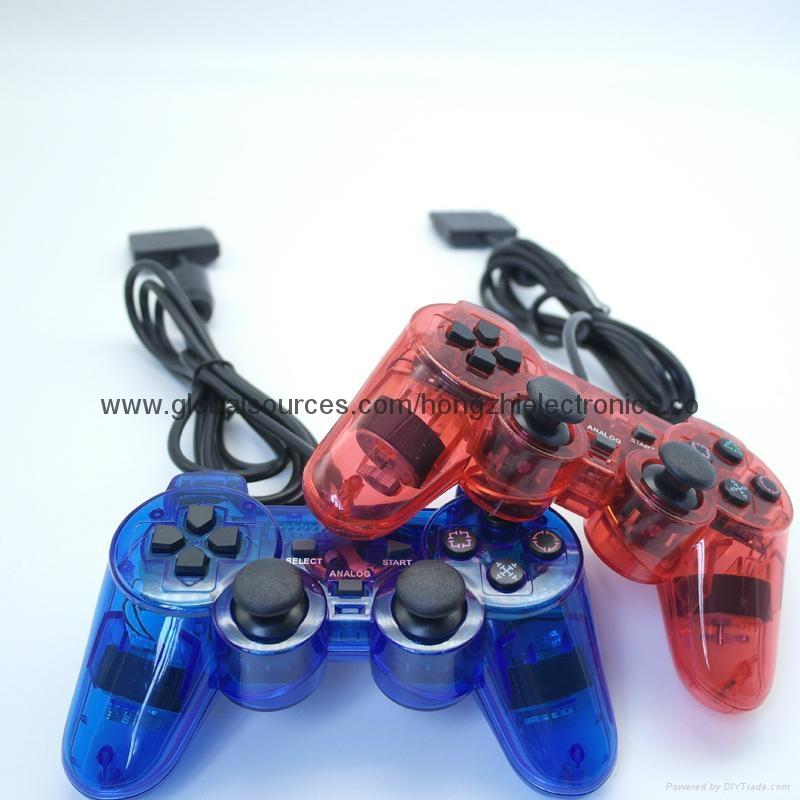 ps2 彩色透明有線手柄 PS2雙振透明彩色手柄 PS2彩色手柄 PS2透明手柄 5