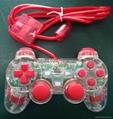 ps2 彩色透明有線手柄 PS2雙振透明彩色手柄 PS2彩色手柄 PS2透明手柄 6