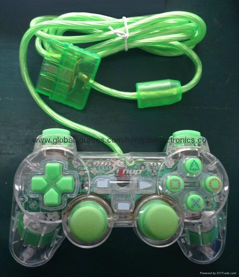 ps2 彩色透明有線手柄 PS2雙振透明彩色手柄 PS2彩色手柄 PS2透明手柄 7