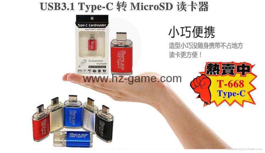 Type-c TF aluminum card Usb 3.1 type-c to tf OTG card reader  reader 12