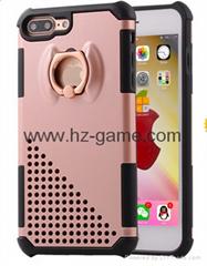 新款韓國蘋果7iPhone7plus金屬電鍍指環支架盔甲防摔手機殼保護套