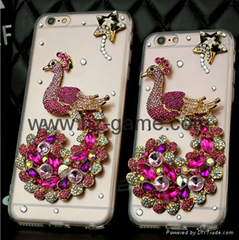 蘋果7s鑲鑽手機殼時尚玫瑰花iphone76S plus水鑽外殼防摔保護套