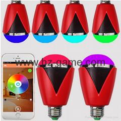 智能家居LED藍牙音箱 手機APP控制七彩音響燈 創意球泡燈低音炮