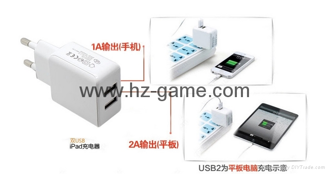 New mobile phone charger Tablet fast charge 2.1A Dual USB Charger Dual  3