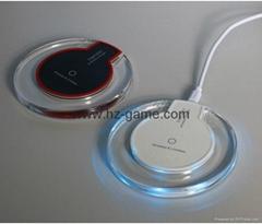 水晶款圓盤無線充電底座發射器QI無線充電器三線圈無線充