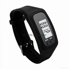 2016 new pedometer waterproof bracelet watch LCD silicone watch bracelet