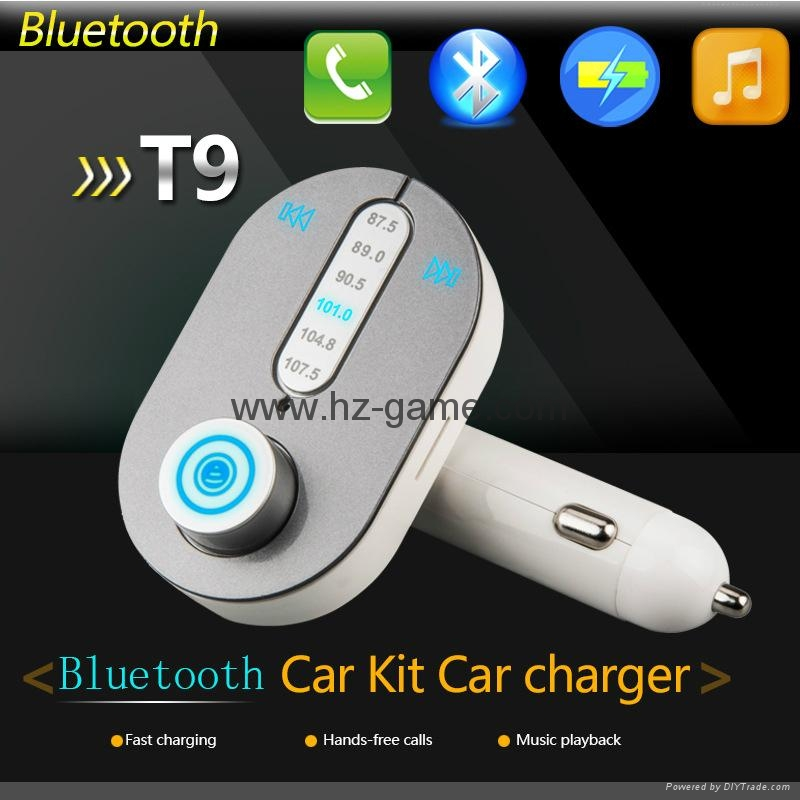 T9 Bluetooth Car Kit FM Transmitter MP3 Player Support TF Card with Car Charger 3