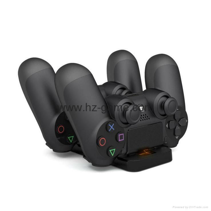 厂家直销PS4SLIM手柄双座充ps4slim无线手柄充电器TP4002S 5
