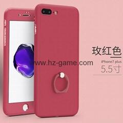 新款日韓iPhone7蠶絲紋手機殼創意防摔愛心孔貼皮蘋果6s保護套7p