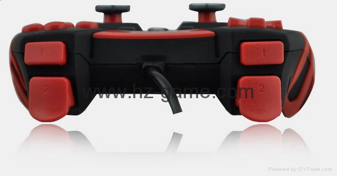 廠家直銷2017新款私模PCPS3有線USB雙震動遊戲手柄支持XINPUT 13
