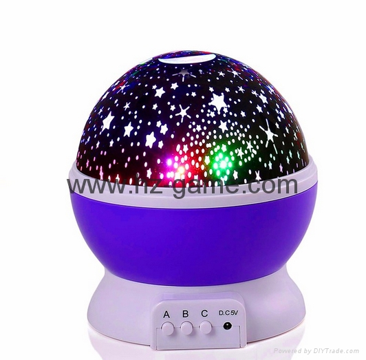 Night Light Moon Star Projector 360Degree Rotation 4LED 9Color Changing USB 11