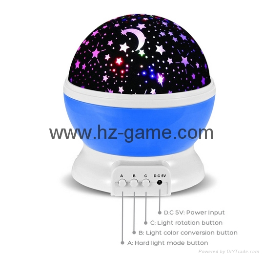 Night Light Moon Star Projector 360Degree Rotation 4LED 9Color Changing USB 4