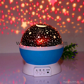 Night Light Moon Star Projector 360Degree Rotation 4LED 9Color Changing USB 2