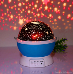 2017 New Rotating Star Moon Sky Night Projector Light with high Kids Bed Lamp