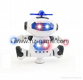 New space electric dancing robot 360 degree rotating belt light music