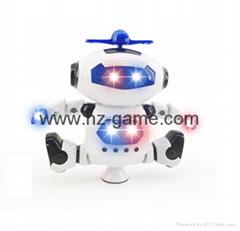 新款太空电动跳舞机器人360度旋转带灯光音乐红外线智能玩具