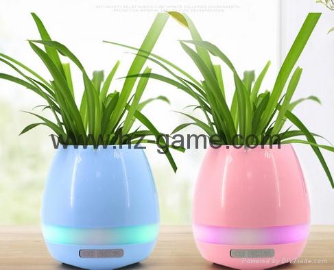 New Bluetooth speakersLED Night Light Music Flowerpot Touch Plant Piano 2