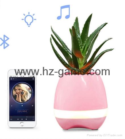 New Bluetooth speakersLED Night Light Music Flowerpot Touch Plant Piano 1