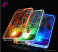 IPhone7 phone shell plating LED flash light TPU quicksand phone case accessories