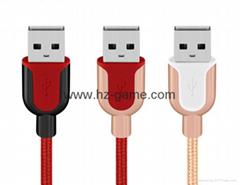 新款安卓平果數據線 U型鋅合金尼龍編織USB手機充電線