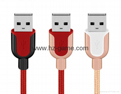 New  U type zinc alloy nylon woven USB mobile phone charging cable