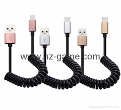 Mobile phone data line USB smart light charging line new woven data cable