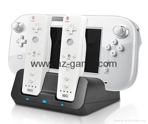 Controller Charging Dual Slots Dock Charger Cradle Station Battery forWii Game 1