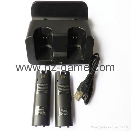 廠家直銷新款WII U 二合一座充 遊戲機週邊配件 2