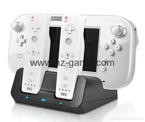 廠家直銷新款WII U 二合一座充 遊戲機週邊配件 4